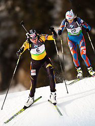 "19.01.2012, Südtirol Arena, Antholz, ITA, E.ON IBU Weltcup, 6. Biathlon, Antholz, Sprint Damen, im Bild Anastasiya Kuzmina (SVK) dahinter Mari Laukkanen (FIN) // in front Anastasiya Kuzmina (SVK) behind it Mari Laukkanen (FIN) during Sprint Women E.ON IBU World Cup 6th, ""South Tyrol Arena"", Antholz-Anterselva, Italy on 2012/01/19, EXPA Pictures © 2012, PhotoCredit: EXPA/ Juergen Feichter"