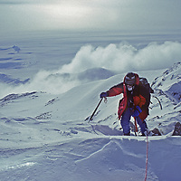 Dr. Lis Densmore, the first woman to climb Antarctica's highest peak, nears the 16,058' summit of Mount Vinson, often called the Vinson Massif.
