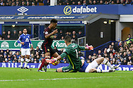 Raheem Sterling of Manchester City looks to go past Everton Goalkeeper Joel Robles. Premier league match, Everton v Manchester City at Goodison Park in Liverpool, Merseyside on Sunday 15th January 2017.<br /> pic by Chris Stading, Andrew Orchard sports photography.