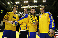 Håndball , 4. desember 2010 , privatlandskamp , Norge - Sverige<br />  Fra venstre:  Niclas Ekberg , Mattias Andersson , Fredrik Petersen , Oscar Carlen , Sverige<br /> Handball,<br /> Norway - Sweden