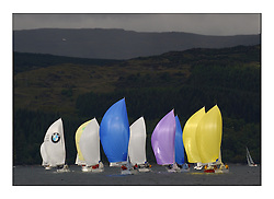 Yachting- The first days inshore racing  of the Bell Lawrie Scottish series 2003 at Tarbert Loch Fyne.  Light shifty winds dominated the racing...The 1720 fleet head downwind in the first race...Pics Marc Turner / PFM