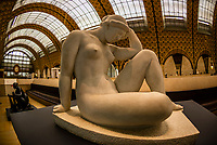 "La Méditerrannée, a nude sculpture by Aristide Maillol, Musee d""Orsay,  a museum in Paris, France, on the Left Bank of the Seine. It is housed in the former Gare d'Orsay, a Beaux-Arts railway station built between 1898 and 1900."