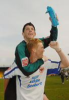 Photo: Leigh Quinnell.<br /> Mansfield Town v Carlisle United. Coca Cola League 2. 22/04/2006. Carlisles Keiren Westwood(top) and Chris Lumsdon celebrate promotion to league 1.