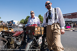 Wisconsonites Jeff Erdman (L) and Jon Dobbs with his 1915 Harley-Davidson at the hosted lunch stop at Temecula Harley-Davidson on the last day of the Motorcycle Cannonball Race of the Century. Stage-15 ride from Palm Desert, CA to Carlsbad, CA. USA. Sunday September 25, 2016. Photography ©2016 Michael Lichter.