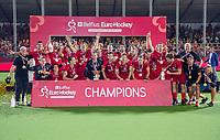 ANTWERPEN - )  Belgie wint de titel    na de  finale mannen  Belgie-Spanje (5-0)  bij het Europees kampioenschap hockey. Belgie kampioen.  COPYRIGHT KOEN SUYK
