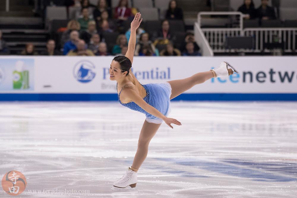 January 3, 2018; San Jose, CA, USA; Angela Wang performs in the ladies short program during the 2018 U.S. Figure Skating Championships at SAP Center.