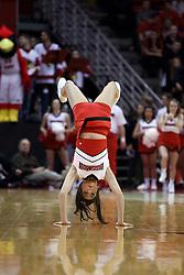 20 January 2017:  Redbird Cheerleader does a backflip during an NCAA Missouri Valley Conference mens basketball game Where the Purple Aces of Evansville lost to the Illinois State Redbirds 75-73 in Redbird Arena, Normal IL