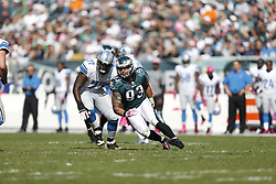 Philadelphia Eagles defensive end Jason Babin (93) during the NFL game between the Detroit Lions and the Philadelphia Eagles on Sunday, October 14th 2012 in Philadelphia. The Lions won 26-23 in Overtime. (Photo by Brian Garfinkel)