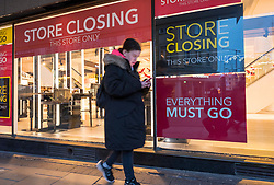 © Licensed to London News Pictures; 02/12/2020; Bristol, UK. The Debenhams store in Bristol's Broadmead Shopping Centre reopens on the first day after the second lockdown during the Covid-19 coronavirus pandemic lockdown in England. Debenhams is to close all its stores across the UK after going into liquidation and is selling off its stock. A projected sale of the company fell through after the Arcadia group which has many concessions within Debenhams stores went into administration. This Debenhams store has been trading in Bristol since 1972. Photo credit: Simon Chapman/LNP.