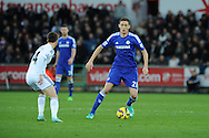 Nemanja Matic of Chelsea in action. Barclays Premier League match, Swansea city v Chelsea at the Liberty Stadium in Swansea, South Wales on Saturday 17th Jan 2015.<br /> pic by Andrew Orchard, Andrew Orchard sports photography.