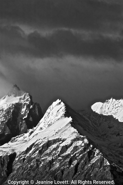 Patagonia mountain spine like edge with extreme storm approaching.