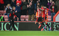 Joshua King of Bournemouth and Steve Cook of Bournemouth runs towards Bournemouth manager Eddie Howe to celebrate the winning goal. - Mandatory by-line: Alex James/JMP - 11/03/2017 - FOOTBALL - Vitality Stadium - Bournemouth, England - Bournemouth v West Ham United - Premier League