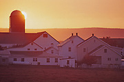 Amish farmstead showing housing for extended family at sunrise, Lancaster Co., PA