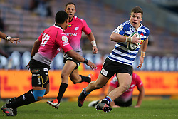 Huw Jones of Western Province attempts to get past Kevin Luiters of the Pumas during the Currie Cup Premier Division match between the DHL Western Province and the Pumas held at the DHL Newlands rugby stadium in Cape Town, South Africa on the 17th September  2016<br /> <br /> Photo by: Shaun Roy / RealTime Images
