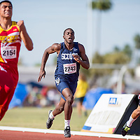050914       Cable Hoover<br /> <br /> Window Rock Scout Delano Walker sprints for the finish in the 100-meter dash during the Arizona State Track Meet at Mesa Community College in Mesa Friday.