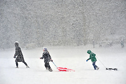 © Licensed to London News Pictures.27/02/2018<br /> IGHTHAM, UK.<br />  Sledging in the snow at Ightham Park, Kent.<br /> Snow fun and games for children having the day off from school because of the snowy weather.<br /> Photo credit: Grant Falvey/LNP