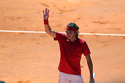 May 4, 2018 - Estoril, Portugal - Stefanos Tsitsipas of Greece celebrates his victory over Roberto Carballes Baena of Spain during the Millennium Estoril Open ATP 250 tennis tournament quarterfinals, at the Clube de Tenis do Estoril in Estoril, Portugal on May 4, 2018. (Credit Image: © Pedro Fiuza via ZUMA Wire)