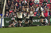 Leicester, Leicestershire, 3rd May 2003, Welford Road Stadium, [Mandatory Credit: Peter Spurrier/Intersport Images],Zurich Premiership Rugby - Leicester Tigers v London Irish<br /> Mike Worsley touch's down