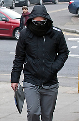© Licensed to London News Pictures. 28/02/2012. Uxbridge, UK.  British Airways steward Matthew Davis (22) from Crawley, West Sussex arriving at Uxbridge Magistrates Court today (28/02/2012) where he faced charges of communicating a bomb threat. Davis is accused of writing a message on a toilet door that caused the scare on a flight from Tokyo to London on February 12th. Photo credit : Ben Cawthra/LNP