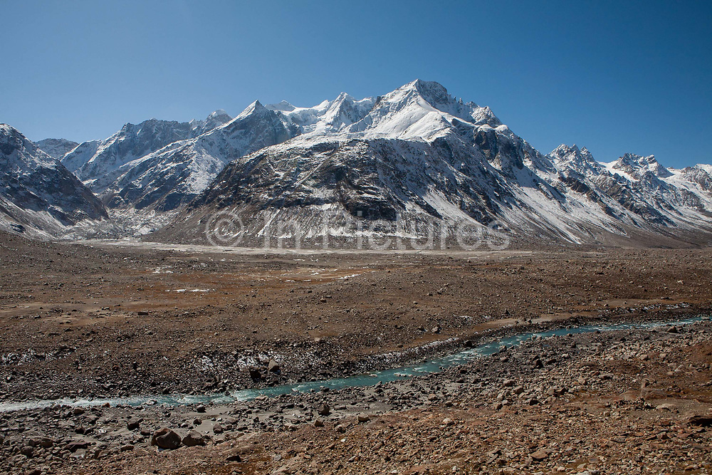 A remote region of the Indian Himalayas in Spiti, near Kaza, with snow capped peaks, on 25th October 2009, Himachal Pradesh, India. The region of Spiti is  a remote and tribal region of the Indian Himalayas near the Tibetan border.