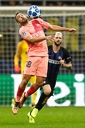 November 6, 2018 - Milan, Italy - Marcelo Brozovic (R) of Inter Milan and Jordi Alba of Barcelona vie for the ball during the Group B match of the UEFA Champions League between FC Internazionale and FC Barcelona on November 6, 2018 at San Siro Stadium in Milan, Italy. (Credit Image: © Mike Kireev/NurPhoto via ZUMA Press)
