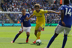 May 12, 2019 - Leicester, England, United Kingdom - Leicester City midfielder Marc Albrighton battling with Marcos Alonso of Chelsea during the Premier League match between Leicester City and Chelsea at the King Power Stadium, Leicester on Sunday 12th May 2019. (Credit Image: © Mi News/NurPhoto via ZUMA Press)