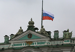 April 4, 2017 - Saint Petersburg, Russia - April 4, 2017. - Russia, Saint Petersburg. - The Russian state flag is flying at half-mast over the State Hermitage building in memory of those killed in the April 3 St. Petersburg metro explosion. (Credit Image: © Russian Look via ZUMA Wire)