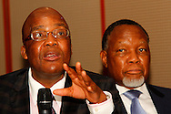 DURBAN - 27 October 2016 - South Africa's national health minister Dr Aaron Motsoaledi speaks during a question and answer session during the luanch of the Human Resources for Eye Health Initiative in Durban. Looking on is former South African president Kgalema Motlanthe. The initiative is led by the niternational non-profit organisation Orbis. Picture: Allied Picture Pres/APP