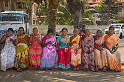A group of women on a day trip to the seaside on 28th February 2018 in Kochi, Kerala, India.