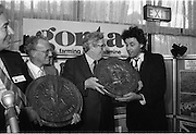 Bob Geldof Receives F.A.O.Medal..1986..16.10.1986..10.16.1986..16th October 1986..The highlight of Gorta's 21st anniversary World Food Day was the presentation of an F.A.O.(Food and Agriculture Organisation of the United Nations) to Bob Geldof. The medal was presented by An Taoiseach,Dr Garret Fitzgerald. The medal was in recognition of Bob's efforts and contribution towards famine relief in the Third World. The ceremony took place in The Berkeley Court Hotel in Dublin...Image of Bob accepting his awards from An Taoiseach,Dr Garret Fitzgerald.Also included in the picture are Mr Declan Walton,Deputy Director General,W.H.O. and Mr Ronald Smylie, Chief Executive of Gorta.