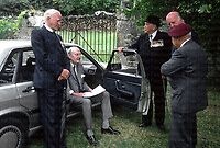 Pictured sitting is SAS founder David Stirling, talking to other veterans at a memorial service in France 1988. Photograph by Terry Fincher