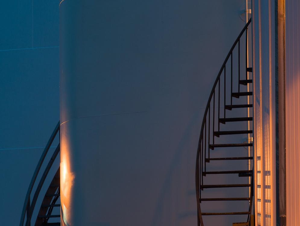 Chemical tank, evening light, October, Port of Port Angeles, Olympic Peninsula, Washington, USA