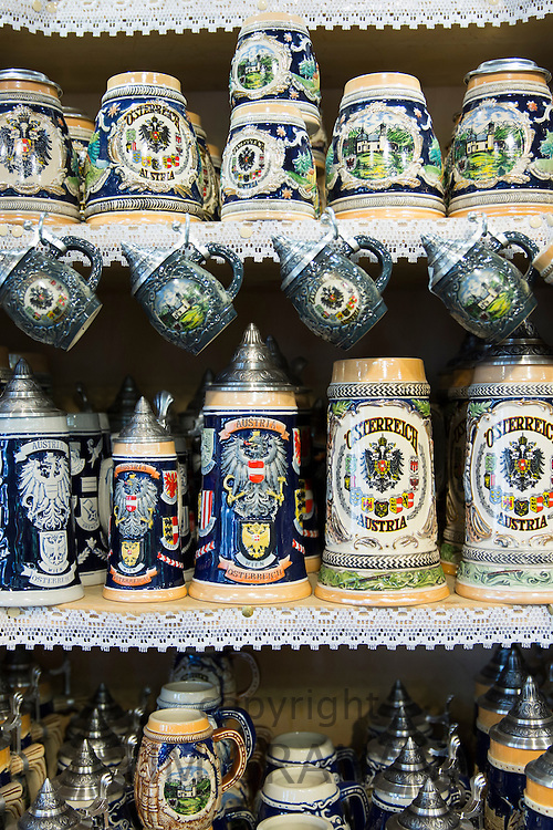 Traditional tankards on sale in shop in the town of Seefeld in the Tyrol, Austria