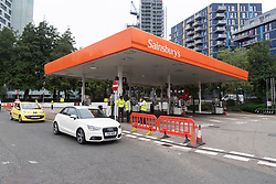© Licensed to London News Pictures. 25/09/2021. London, UK. A Sainsburys supermarket petrol station in Alperton, West London due to the current problems with the supply and distribution chain. Companies including BP and Shell have restricted deliveries due to the lack of HGV drivers. Photo credit: Ray Tang/LNP