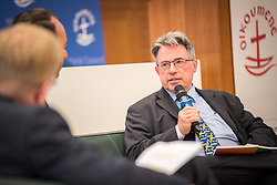 18 September 2017, Geneva, Switzerland: A talkshow format presents a range of programmes and activities of the World Council of Churches, at the Ecumenical Centre in Geneva where the WCC hosts a meeting of member churches' Ecumenical Officers. Here, interview with Stephen Brown.