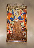 Gothic Catalan altarpiece depicting the Madonna of Mercy by Bonant Zaortiga, circa 1430-1440, tempera and gold leaf on wood, from the church of Mare de Dieu de Carrasca , Blancas, Terol, Spain. Against a art background. <br /> Bonnat Zaortiga was one of the most prominent representatives of the international Gothic. The Mother of God of Mercy  protects humans with her cape, symbolizing one of the most feared evils of the European Middle Ages, plague, often understood as a punishment for the sins of mankind. This was the central panel of the altarpiece of the church of the Mother of God. National Museum of Catalan Art, Barcelona, Spain, inv no: MNAC 3945. . .<br /> <br /> If you prefer you can also buy from our ALAMY PHOTO LIBRARY  Collection visit : https://www.alamy.com/portfolio/paul-williams-funkystock/gothic-art-antiquities.html  Type -     MANAC    - into the LOWER SEARCH WITHIN GALLERY box. Refine search by adding background colour, place, museum etc<br /> <br /> Visit our MEDIEVAL GOTHIC ART PHOTO COLLECTIONS for more   photos  to download or buy as prints https://funkystock.photoshelter.com/gallery-collection/Medieval-Gothic-Art-Antiquities-Historic-Sites-Pictures-Images-of/C0000gZ8POl_DCqE