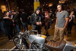 Checking out the Medaza custom Moto Guzzi at the Handbuilt Show. Austin, Texas USA. Saturday, April 13, 2019. Photography ©2019 Michael Lichter.