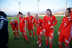 ZENICA, BOSNIA AND HERZEGOVINA - Tuesday, November 28, 2017: Wales players celebrate after beating Bosnia and Herzegovina 1-0 during the FIFA Women's World Cup 2019 Qualifying Round Group 1 match between Bosnia and Herzegovina and Wales at the FF BH Football Training Centre. Angharad James, Loren Dykes, Jessica Fishlock, Alice Griffiths. (Pic by David Rawcliffe/Propaganda)