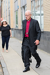 © Licensed to London News Pictures. 24/07/2018. London, UK.  GEORGE CAREY, the former Archbishop of Canterbury leaves the child sex abuse inquiry after giving evidence in London today.  Photo credit: Vickie Flores/LNP