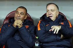 (L-R) assistant trainer Ruud Gullit of Holland, coach Dick Advocaat of Holland during the friendly match between Romania and The Netherlands on November 14, 2017 at Arena National in Bucharest, Romania