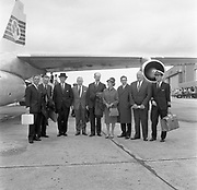 30th September 1963<br /> <br /> Pictured at Dublin Airport, a party from C.T.T. including Jack Lynch, Minister for Industry and Commerce, departing for Irish Industrial Promotion Week in New York. Special for the Cork Examiner.