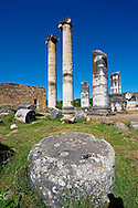 Temple of Artimis Sardis, originally the fourth largest Ionic temple when it was originally built in 300 B.C. In 150 AD under Roman rule when the worship  of the Emperor required all Roman cities to have a Temple dedicated to the Imperial family. The temple of Artimis was split into two sections with one half for Artemis and the Empress Faustina and the other for Zeus and Emperor Antoninus Pius and the present construction shows elements of Greek and Roman styles. Sardis archaeological site, Hermus valley, Turkey. A Harvard Art Museum excavation project. .<br /> <br /> If you prefer to buy from our ALAMY PHOTO LIBRARY  Collection visit : https://www.alamy.com/portfolio/paul-williams-funkystock/sardis-archaeological-site-turkey.html<br /> <br /> Visit our CLASSICAL WORLD HISTORIC SITES PHOTO COLLECTIONS for more photos to download or buy as wall art prints https://funkystock.photoshelter.com/gallery-collection/Classical-Era-Historic-Sites-Archaeological-Sites-Pictures-Images/C0000g4bSGiDL9rw
