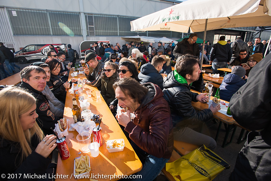 Great food being cooked up in the outside areas of Motor Bike Expo. Verona, Italy. Saturday January 21, 2017. Photography ©2017 Michael Lichter.