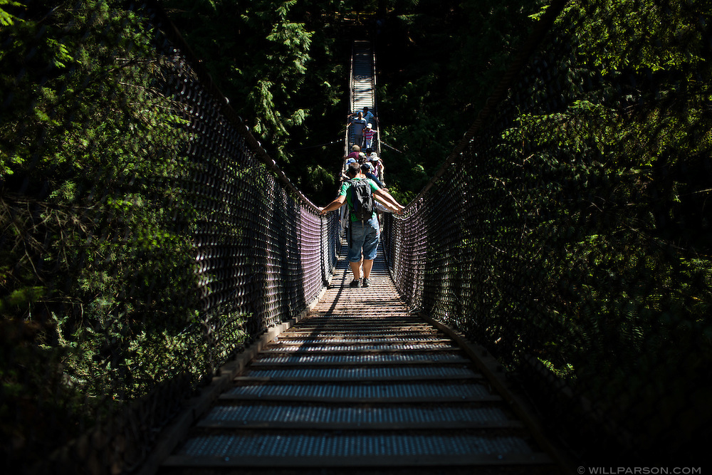 Lynn Canyon Suspension Bridge in Lynn Canyon Park, North Vancouver, British Columbia.