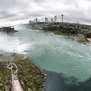 A fisheye shot of Niagara Falls on the Niagara River on the border between the United States and Canada.