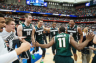 29 MAR 2015: Michigan State University celebrates their victory over the University of Louisville during the 2015 NCAA Men's Basketball Tournament held at the Carrier Dome in Syracuse, NY. Michigan State defeated Louisville 76-70 to advance. Brett Wilhelm/NCAA Photos