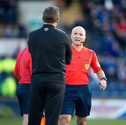 Ref George Salmond and Hibernian's manager Alan Stubbs. <br /> Raith Rovers 1 v 2 Hibernian, Scottish Championship game played 24/10/2015 at Starks Park.