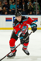 KELOWNA, BC - OCTOBER 12: Kaedan Korczak #6 of the Kelowna Rockets skates against the Kamloops Blazers at Prospera Place on October 12, 2019 in Kelowna, Canada. Korczak was selected by the Vegas Golden Knights in the 2019 NHL entry draft. (Photo by Marissa Baecker/Shoot the Breeze)