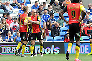 Cardiff born Birmingham winger David Cotterill (11) celebrates with team mate Maikel Kieftenbeld (6) after scoring the 1st goal.  Skybet football league championship match, Cardiff city v Birmingham city at the Cardiff city stadium in Cardiff, South Wales on Saturday 7th May 2016.<br /> pic by Carl Robertson, Andrew Orchard sports photography.