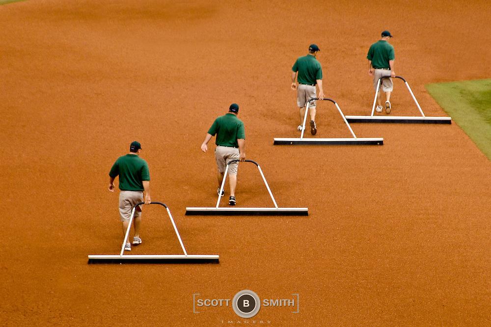 Sweeping the baseball infield; Tropicana Field, St. Petersburg, Florida.